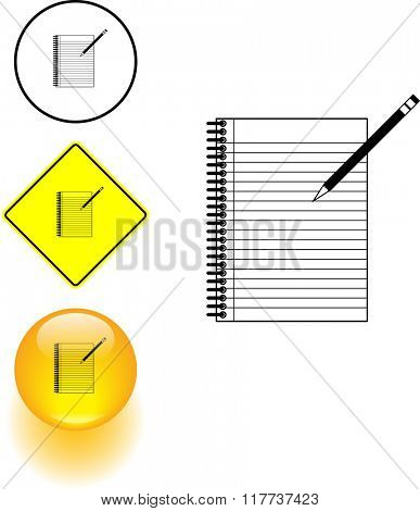 notebook and pencil symbol sign and button