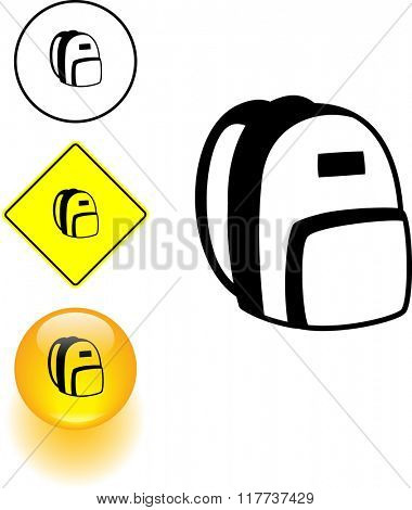 backpack symbol sign and button