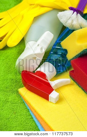 Colorful cleaning equipment. Cleaning and housework conception.