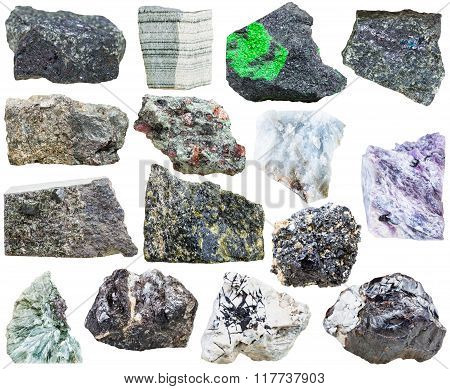 Set Of Natural Mineral Rock Stones Isolated