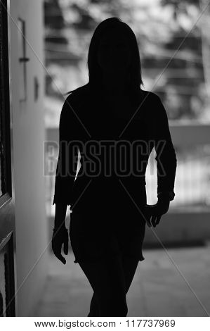 black and white silhouette of a beautiful woman