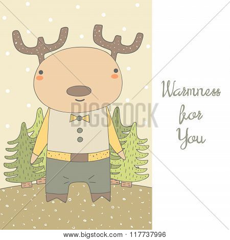 Postcard with deer