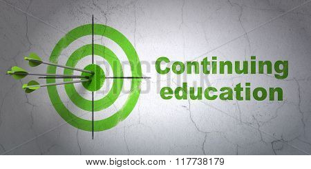 Learning concept: target and Continuing Education on wall background