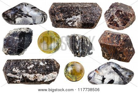 Set Of Tourmaline Gemstones Isolated