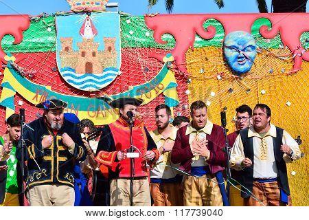 Typical Carnival Chorus (chirigota) In El Puerto De Santa Maria.