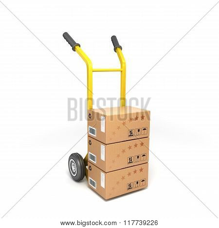Two-wheeled Trolley With Drawers Isolated On White