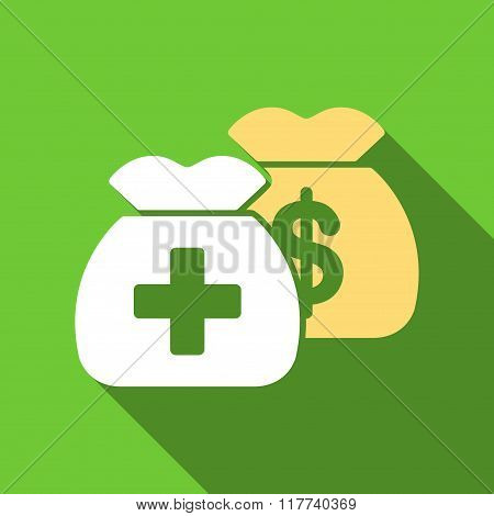 Health Care Funds Flat Long Shadow Square Icon
