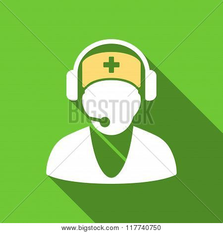 Hospital Receptionist Flat Long Shadow Square Icon