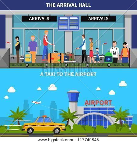 Traveling By Plane Banners Set