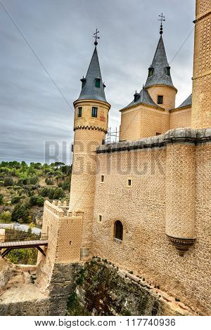Segovia Spain. The famous Alcazar of Segovia rising out on a rocky crag built in 1120. Castilla y Leon.