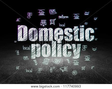 Political concept: Domestic Policy in grunge dark room