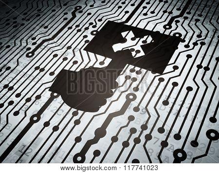 Politics concept: circuit board with Protest