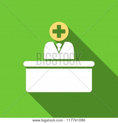 Medical Bureaucrat Flat Long Shadow Square Icon
