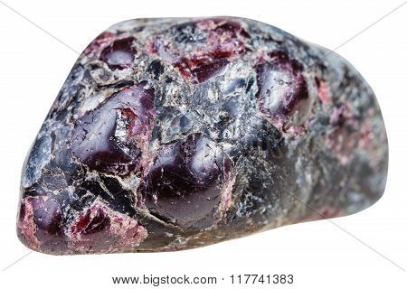 Tumbled Garnet (almandine) Gemstones In Rock