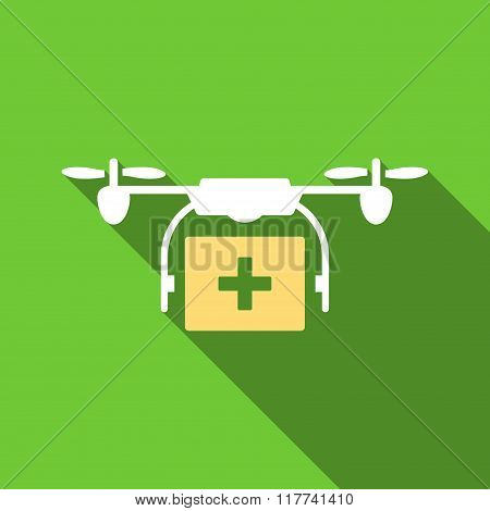 Medical Drone Shipment Flat Long Shadow Square Icon