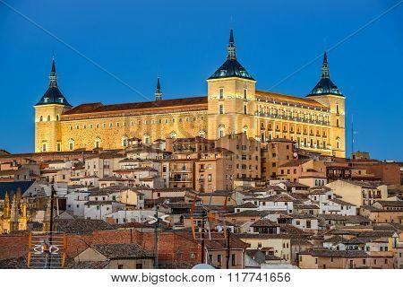Toledo Spain. Twilight view of ancient city Toledo in Castilla la Mancha with Alcazar landmark of Spain.