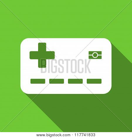 Medical Insurance Card Flat Long Shadow Square Icon