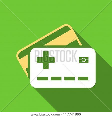 Medical Insurance Cards Flat Long Shadow Square Icon