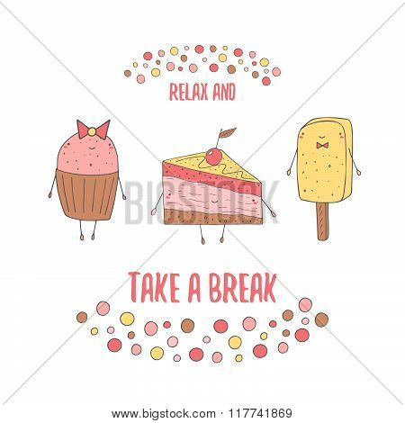 Postcard with cake, muffin and ice cream