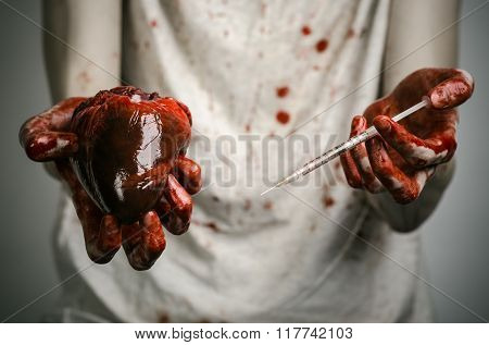 Social Advertising And The Fight Against Drug Addiction: Bloody Hands Addict Holding Syringe