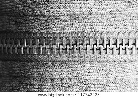 Black and white macro photo of zipper
