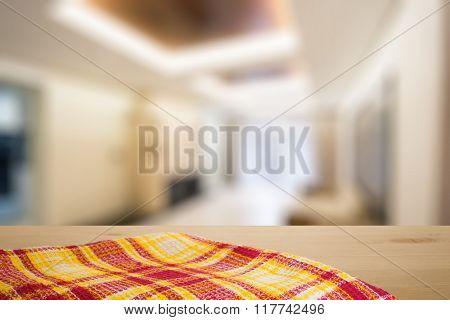 kitchen towel on table in the living room