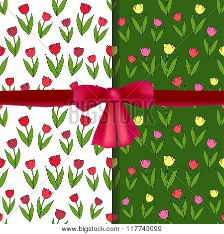 Set of vector seamless patterns with tulips