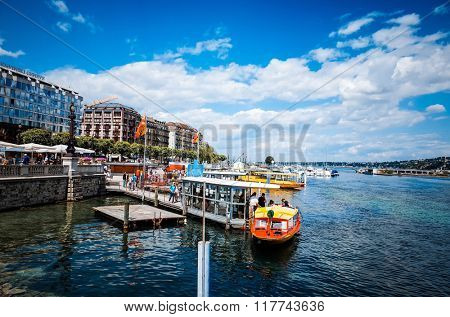 ZURICH, SWITZERLAND-June 21 : Lake Zurich is a lake in Switzerland, extending southeast of the city on June 21, 2014. June 21, 2014 in ZURICH