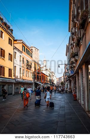 Traditional street view of old buildings in Venice on May 26, 2015. its entirety is listed as a World Heritage Site, along with its lagoon.May 26 VENICE, ITALY