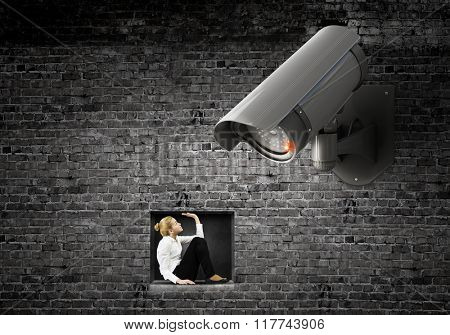 Camera keep an eye on woman