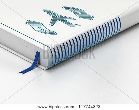 Insurance concept: closed book, Airplane And Palm on white background