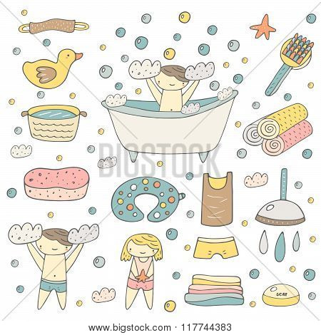 Baby bathing objects set