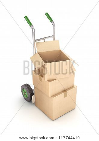 Cardboard Boxes On Hand Truck