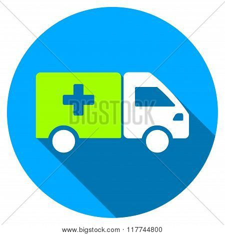 Drug Shipment Flat Round Icon With Long Shadow