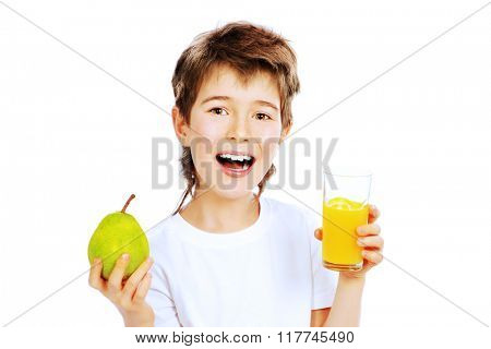 Smiling nine year old boy going to drink fresh pear juice. Isolated over white.