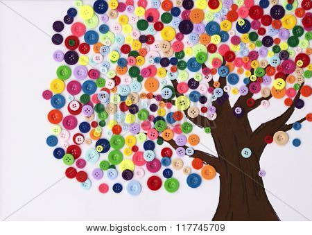 Children's Craft Of A Tree Made Of Buttons