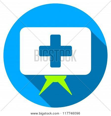 Health Care Presentation Flat Round Icon With Long Shadow