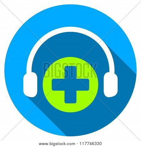 Hospital Call Service Flat Round Icon With Long Shadow