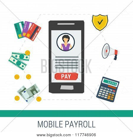 Vector Concept Mobile Online Payroll Operation