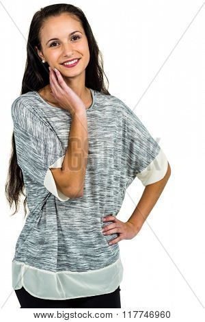 Portrait of happy woman looking at the camera on white screen