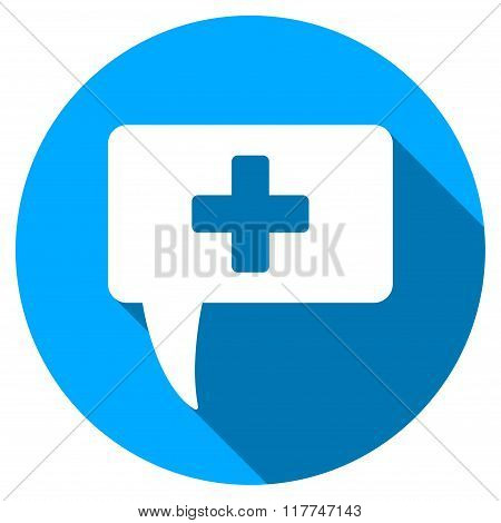 Medical Answer Flat Round Icon with Long Shadow