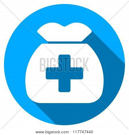 Medical Capital Flat Round Icon with Long Shadow