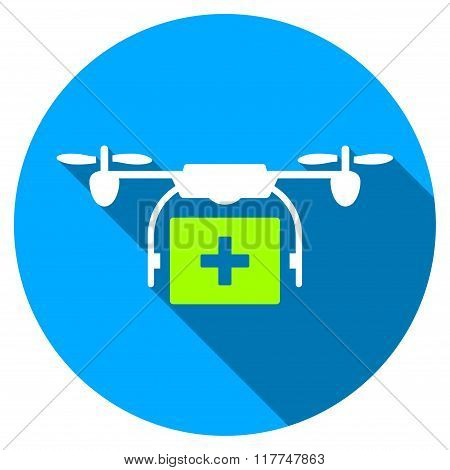 Medical Drone Shipment Flat Round Icon With Long Shadow