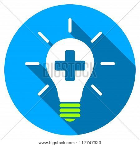 Medical Electric Lamp Flat Round Icon With Long Shadow