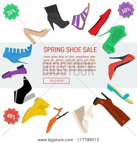 Round Banner Woman Shoe Sale
