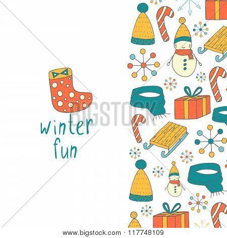 Winter fun postcard