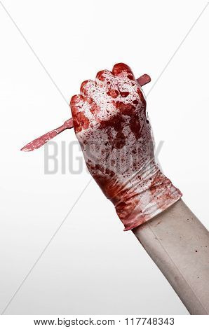 Bloody Hands In Gloves With The Scalpel, White Background, Isolated, Doctor, Killer, Maniac