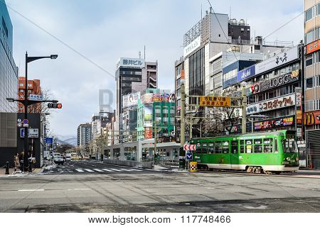 SAPPORO, JAPAN - December 22, 2015: Street view of Buildings around city, one of the most popular tourist destinations in Sapporo, Hokkaido, Japan.