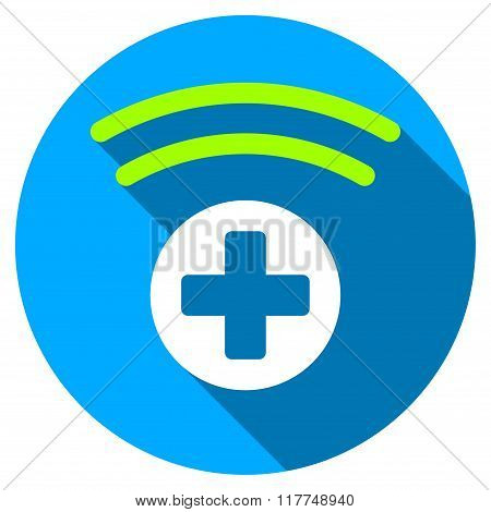 Medical Source Flat Round Icon with Long Shadow