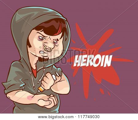 Cartoon Vector Illustration Of A Drug Addict Man Addicted To Heroin Injecting A Syringe